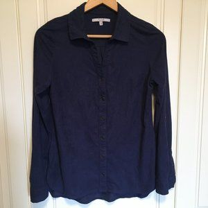ALFRED SUNG Womens XS Indigo Blue Ultrasuede shirt